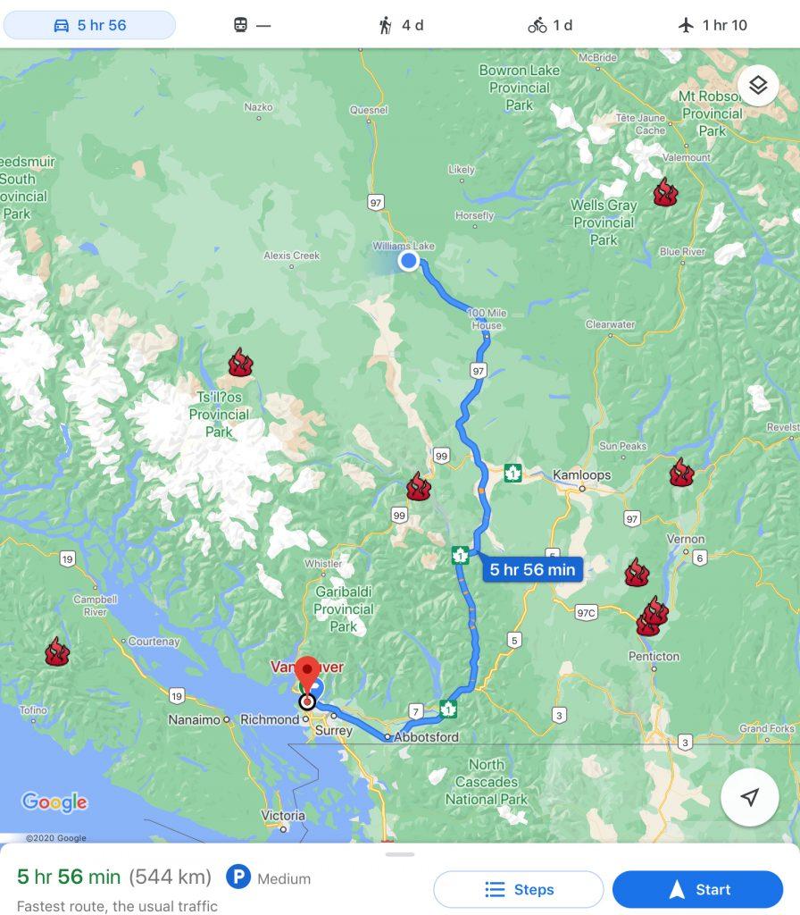 Viaggio, da Vancouver a Williams Lake