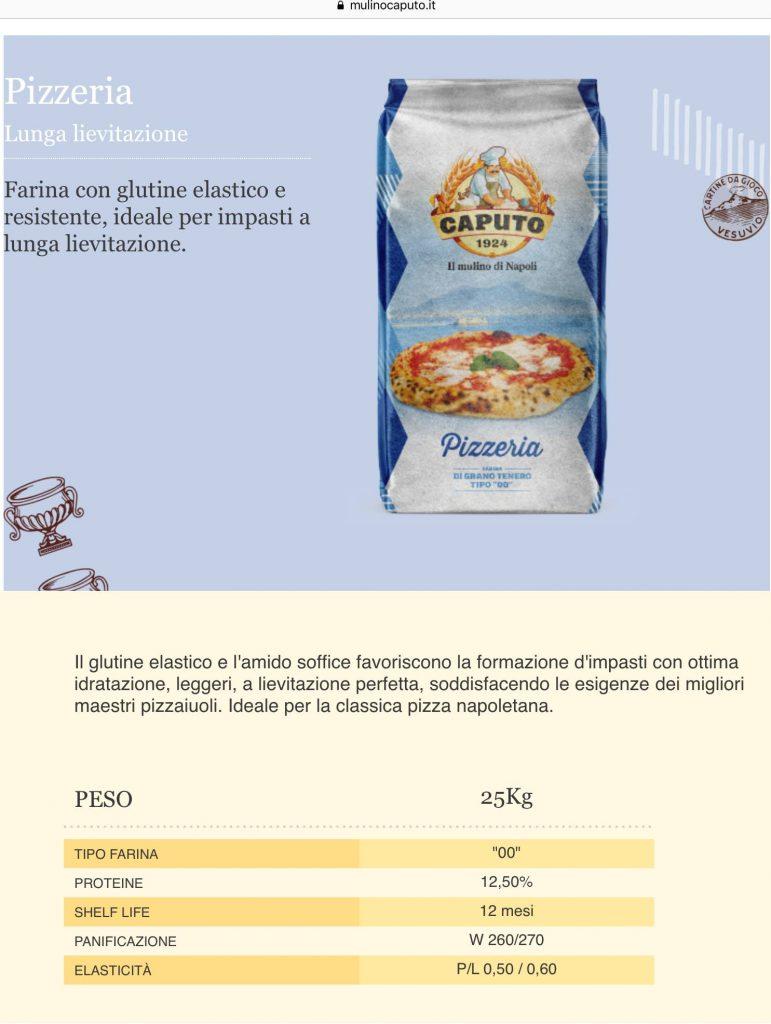 scheda tecnica farina caputo blu pizzeria